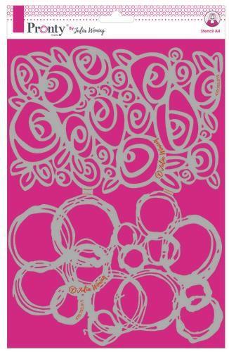 Pronty Stencil Roses & grunge circles A4 Julia Woning
