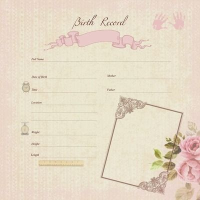Pitter Patter 12x12 Gloss Specialty - Birth Record Girl