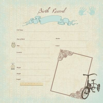 Pitter Patter 12x12 Gloss Specialty - Birth Record Boy