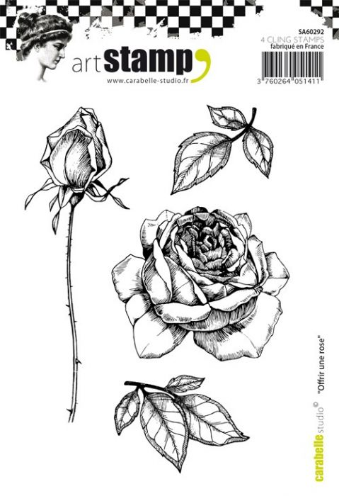 Carabelle cling stamp A6 offrir une rose