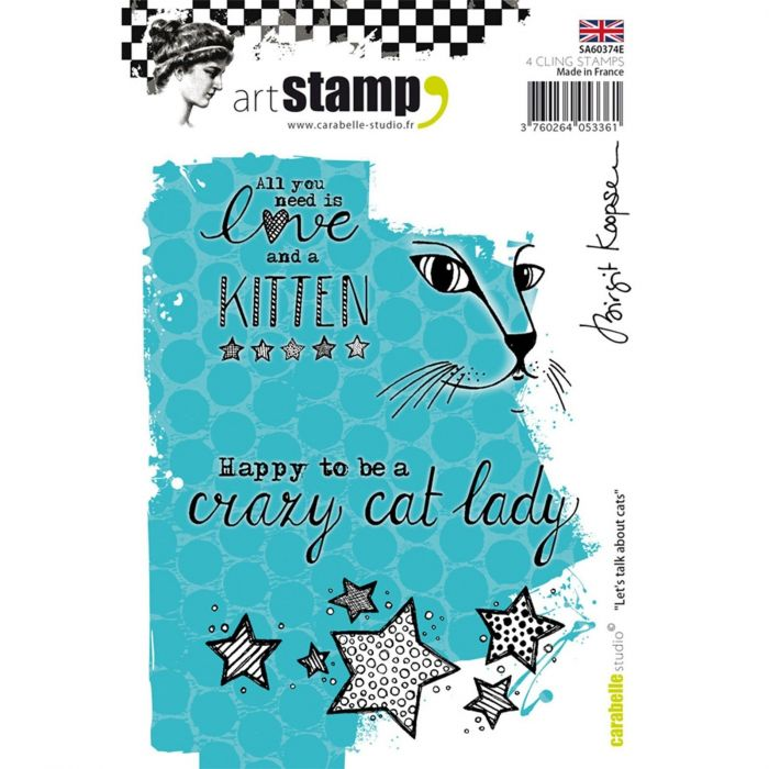 Carabelle cling stamp A6 let's talk about cats by Birgit Koopsen