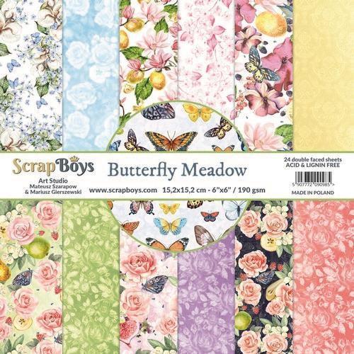 ScrapBoys Butterfly Meadow paperpad 24 vl+cut out elements-DZ 190gr 15,2 x 15,2cm