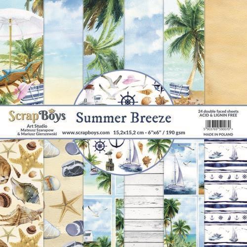 ScrapBoys Summer Breeze paperpad 24 vl+cut out elements-DZ 190gr 15,2 x 15,2cm