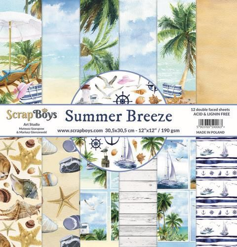 ScrapBoys Summer Breeze paperset 12 vl+cut out elements-DZ 190gr 30,5 x 30,5cm