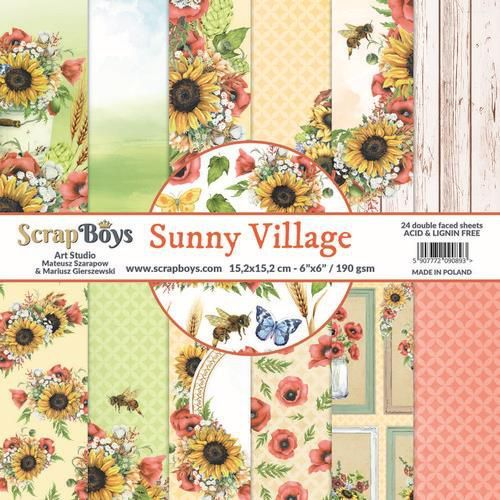 ScrapBoys Sunny Village paperpad 24 vl+cut out elements-DZ 190gr 15,2 x 15,2cm
