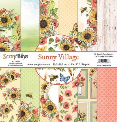 ScrapBoys Sunny Village paperset 12 vl+cut out elements-DZ 190gr 30,5 x 30,5cm