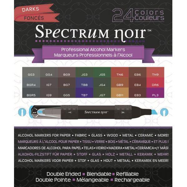 Spectrum Noir Alcohol Markers 24 Pen Box Set Darks