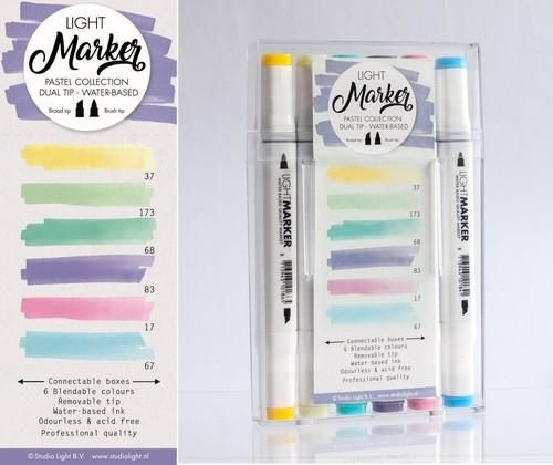 Studio Light Box 6 water based dual tip markers pastel