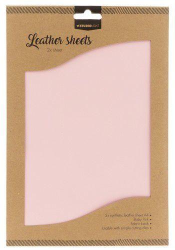 Studio Light kunstlederen vellen nr.05 - baby roze  2xA4