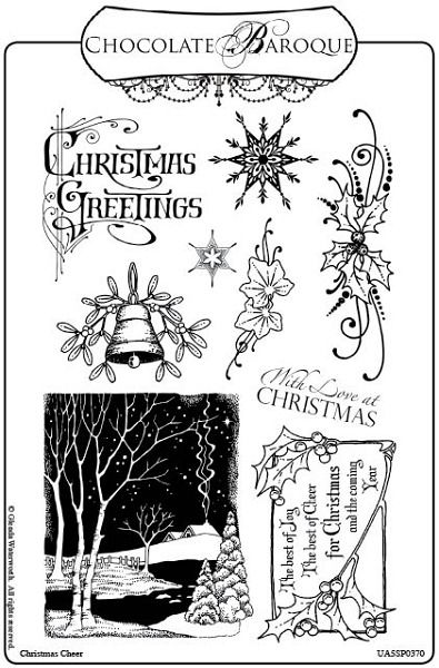 Christmas Cheer Unmounted Rubber Stamp sheet