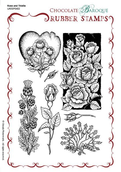 Rose and Thistle Unmounted Rubber stamp sheet - A5